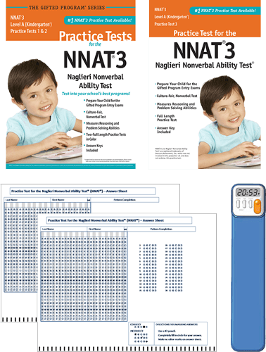 NNAT3 Grade Kindergarten Level A Practice test 1, 2, and 3 - Total Study Package